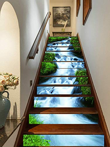 FLFK 3D Green Grass,Streams Natural Landscape Self-Adhesive Stairs...