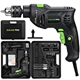 Impact Drill, GALAX PRO 5Amp 1/2-inch Corded Hammer Drill with 105pcs Accessories, Variable Speed 0-3000, Hammer and Drill 2 Functions in 1, 360Rotating Handle, Depth Gauge, Carrying Case Included