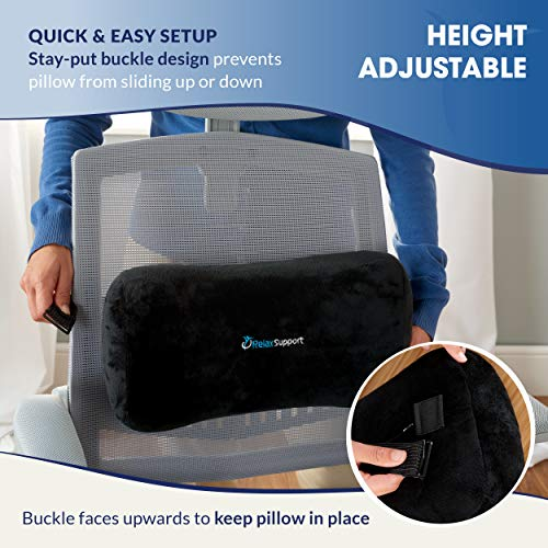 Product Image 2: Relax Support RS7-X Office Chair Back Support Pillow - Medium Firm Memory Foam Lumbar Cushion - Promotes Spinal Alignment & Better Posture - Non-Slip Strap, Washable Cover - Fits Wheelchair, Recliner