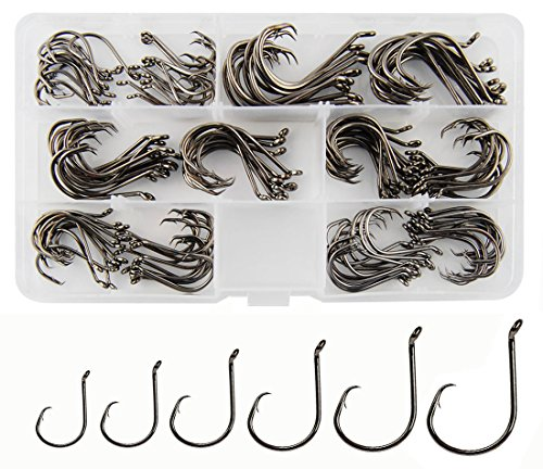 Circle Hooks Saltwater Fishing Hooks, 150PCS Fishing Circle Hooks 2X Strong Offset Octopus Catfish...