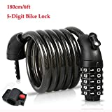 YIHATA Bike Lock Cable Motorcycle Locks High Security 5 Digit Resettable Combination (B - 6ft/180cm)