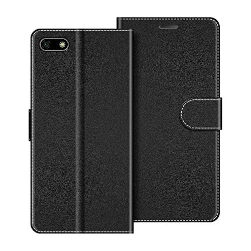 COODIO Custodia per Huawei Y5 2018, Custodia in Pelle Huawei Y5 2018, Cover a Libro Honor 7S Magnetica Portafoglio per Huawei Y5 2018 / Honor 7S Cover, Nero