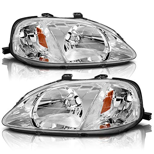 AUTOSAVER88 Headlight Assembly Compatible with 1999 2000 Honda Civic Chrome Housing Headlamp 33151-S01-A02 33101-S01-A02