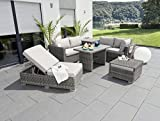 greemotion Tisch Bari grau, Esstisch mit Spraystoneglas-Platte, Lounge-Tisch für 4 Personen, Gartenmöbel aus Aluminumgestell und Polyrattan, witterungsbeständig unmd pflegeleicht - 9