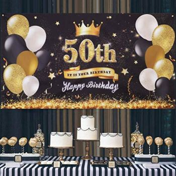 50th Birthday Party Decoration Extra Large Fabric Black Gold Sign Poster for Anniversary Photo Booth Backdrop Background Banner, Birthday Party Supplies,72.8 x 43.3 Inch (50th Birthday)