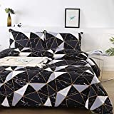 Litanika Black Marble Comforter King(104x90lnch), 3 Pieces(1 Marble Comforter and 2 Pillowcases) White Black Abstract Triangle Bedding Set, Geometric Plaid Comforter Set for Teens Men Women