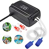 Aquarium Air Pump, Rifny Adjustable Air Pump Kit with Dual Outlet Air Valve, Fish Tank Oxygen Pump with Air Stones Silicone Tube Check Valves for 1-80 Gallon