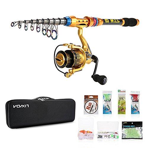 Lixada Kit de Pêche Portable roulements à billes et canne à pêche télescopique 100m ligne de pêche Lures Hooks Pêche leurres Crochet...