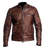 Mens Vintage Biker Cafe Racer Motorcycle Brown Distressed Leather Jacket