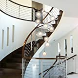 BDS lighting Staircase Chandeliers Glass Ball Multi Lights Modern Creative Living Room Pendant Light Villa Ceiling lamp Duplex Apartment Spiral Stairs Long Chandelier, 40x200cm (Color : Clear)