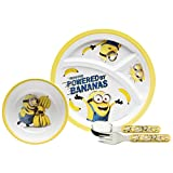 Zak Designs DESR-3870 Toddlerific Dinnerwear Set, Plate + Bowl + Flatware, Minions Movie 5pc