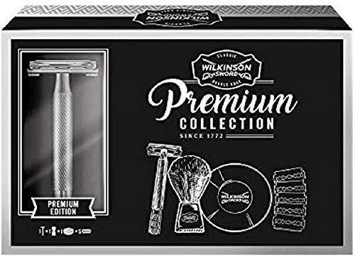 Wilkinson Sword - Confanetto Premium Vintage Edition - Kit con Rasoio per Uomo, Lame, Sapone Schiuma da Barba, Pennello