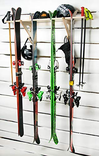 AKR - Portasci in legno per sci, da parete, garage, per interni, sport all'aperto, sci, sci, in legno, per riporre sci