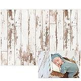 Allenjoy 7x5FT White Wood Rustic Wooden Floor Backdrop for Newborn Photography Vinyl Photographic Background Baby Shower Kids Birthday Cake Smash Photoshoot Photographer Props