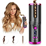 Cordless Hair Curler, Automatic Hair Curling Iron, Heatless Hair Rotating Curler with 3 Temperature...