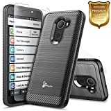 "NageBee Jitterbug Smart 2 Case [GreatCall] (5.5"" Screen) Smartphone for Seniors w/[Tempered Glass Screen Protector], Carbon Fiber Brushed Defender Armor Shockproof Dual Layer Hybrid Combo Case -Black"