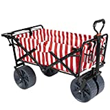 MacSports Collapsible Outdoor Folding Wagon with Side Table, Perfect Beach Wagon for Camping, Concerts, and More – Red Stripes
