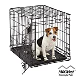 Small Dog Crate   MidWest Life Stages 24' Folding Metal Dog Crate   Divider Panel, Floor Protecting Feet, Leak-Proof Dog Tray   24L x 18W x 21H Inches, Small Dog Breed