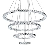 MEEROSEE Crystal Chandeliers Modern LED Ceiling Lights Fixtures Pendant Lighting Dining Room Chandelier Contemporary Adjustable Stainless Steel Cable 4 Rings DIY Design D31.5'+23.6'+15.7'+7.8'