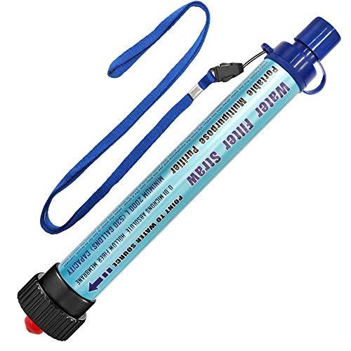 Filtro de Agua DeFe 2000L Personal Sistema de Filtración de Agua 0.01 Micron Mini Purificador de Agua Portátil para Excursionismo Campamento Acampada Supervivencia y Preparación de Emergencias (Azul)