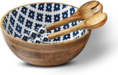 """Folkulture Salad Bowl or Wooden Bowls with Serving Tongs, Large Salad Bowls for Fruits, Cereal or Pasta, Large Mixing Bowl Set, 12"""" Diameter x 5"""" Height, Mango Wood, Blue"""