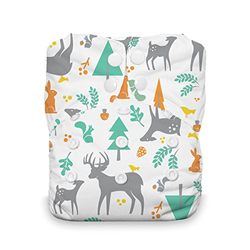 Thirsties Stay Dry Natural One Size All in One Cloth Diaper, Snap Closure, Woodland