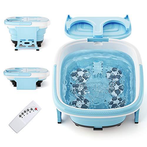 Giantex Foot Spa/Bath Massager Collapsible 6 in 1, Heat, Bubbles, 6 Motorized Shiatsu Rollers, Vibration, Time & Temprature Settings, Pedicure Tub Bath w/Folding Cover, Feet Salon Tub (Blue)