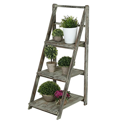 5. 3 Tiered Rustic Torched Wood A-Frame Ladder Shelving Display Stand, Bookshelf Storage Rack