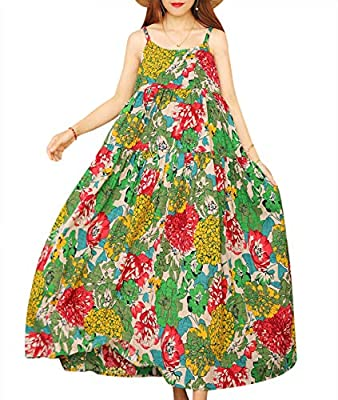Tiered Maxi Dress; Sexy Home Wear; Cotton Sleep Wear; Bohemian Floral Dress; Summer Beach Dress; Adjustable Spaghetti Slip; Bohemian Floral Printed; Soft Skin Fabric; Perfect for any season- with tops inside or with cardigans outside; Occasion: Beach...