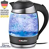 Mueller Premium 2019 Model 1500W Electric Kettle Water Heater with SpeedBoil Tech, 1.8 Liter Cordless with LED Light, Borosilicate Glass, BPA-Free with Auto Shut-Off and Boil-Dry Protection