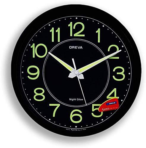 Oreva Night Glow Round Plastic Analog Wall Clock (30.6 cm x 4.25 cm x 30.6 cm, Black, AQ-1837)