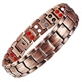 Feraco Copper Bracelet for Men 4 Elements Magnetic Bracelets Pain Relief for Arthritis Elegant 99.99% Solid Copper Jewelry with Magnets