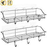 Shower Shelf with Extra 6 Hooks, Homemaxs 304 stainless steel shower caddy(13.8 In) Upgraded Adhesive No Drilling, 2 Pack Wall Mounted Shower Shelves for Bathroom and Kitchen Storage Organizers.