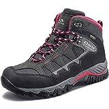 Clorts Women's Pioneer Hiking Boots Waterproof Suede Leather Lightweight Hiking Shoes Dark Grey/Pink US Women Size 8.5 Medium Width