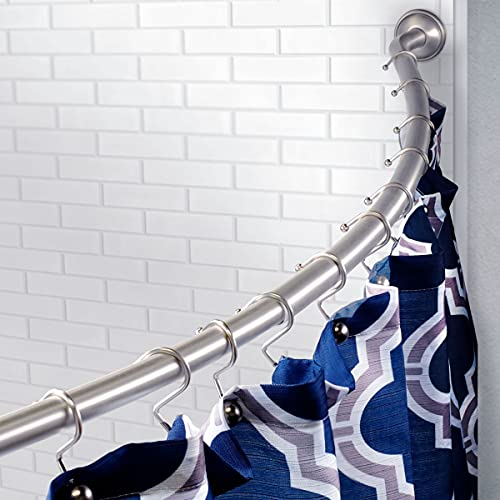 Bennington Stainless Steel Curved Shower Curtain Rod Bathtub Adjustable 42-in. to 63-in., Brushed Nickel