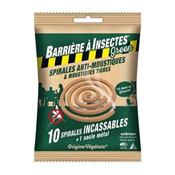 BARRIERE A INSECTES GREEN Spirales Anti-Moustiques & Moustiques Tigres, à Base de Géraniol - Sachet de 10 spirales, BARBIOSPIR10N
