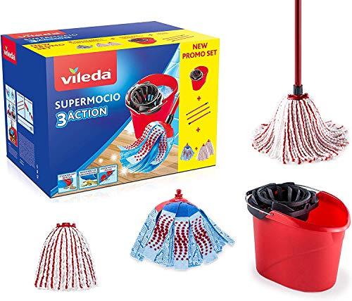 Vileda Supermocio Box Sistema Lavapavimenti, Set con Strizzatore, Secchio, Manico 3 Pezzi, 1 Fiocco...