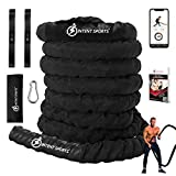 INTENT SPORTS Durable Battle Ropes (1.5 inch Diameter x 30 ft Length)