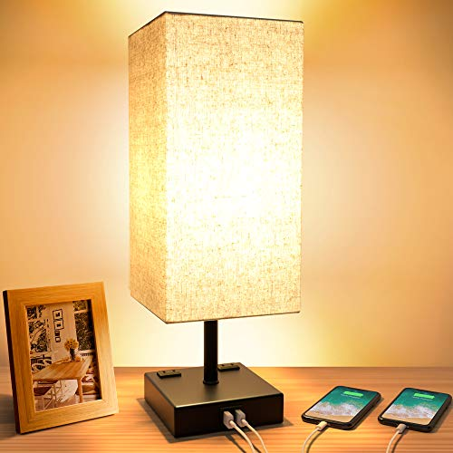 Touch Table Lamp, 3-Way Dimmable Touch Lamp Bedside Lamp with 2 USB...