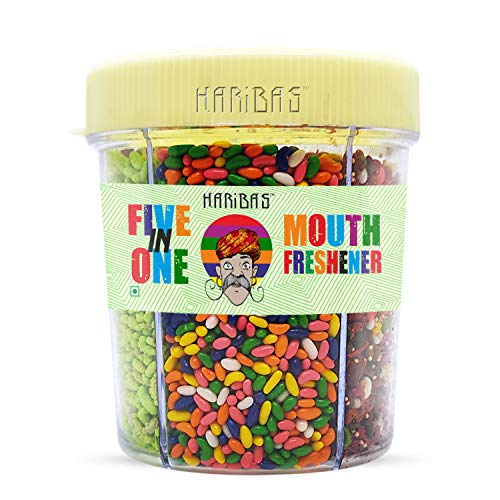 HARIBAS Mukhwas Mouth Freshener 5 in 1, 300GM with Sauf Mouth freshener, Green Saunf Mukhwas , Punjabi Mukhwas , Khas Chandan Mukhwas, Paan Mukhwas and Colorful Sauf | Premium Mukhwas Mouth Freshener