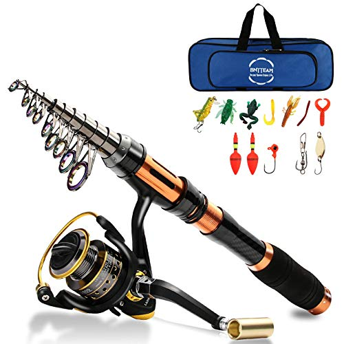BNTTEAM Mulinello da Pesca e Asta Combos telescopica Portatile Resistente, al 99% al Carbonio, Sea Fishing Rod & Reel+Esche Artificiali+Set di Lenza da Pesca (Set Completo/2.4M/94.5in/7.84ft)