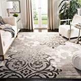 Safavieh Adirondack Collection ADR114B Silver and Ivory Contemporary Chic Damask Area Rug (8' x 10')