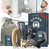 Kit Cuidado Barba para Hombre 10pcs, con Champú Barba, Aceite Barba, Bálsamo Barba, Cepillo Barba, Peine Barba, Plantilla Barba, Tijeras Barba, Delantal Barba, Bolsa, Regalos Originales para Hombre