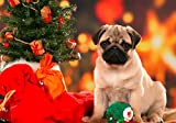 Jigsaw Puzzles 1500 Pieces for Adults - Christmas Pug - Wooden Puzzle Toys Home Decor