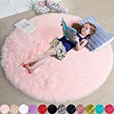 Pink Round Rug for Girls Bedroom,Fluffy Circle Rug 4'X4' for Kids Room,Furry Carpet for Teen Girls Room,Shaggy Circular Rug for Nursery Room,Fuzzy Plush Rug for Dorm,Cute Room Decor for Baby