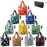 Reusable Shopping Bags Foldable Grocery Totes 10 Pack with Zipper Carry Pouch Cute Shopper Bags XLarge Machine Washable Durable Compact Bags for Groceries Fun Animal Printed