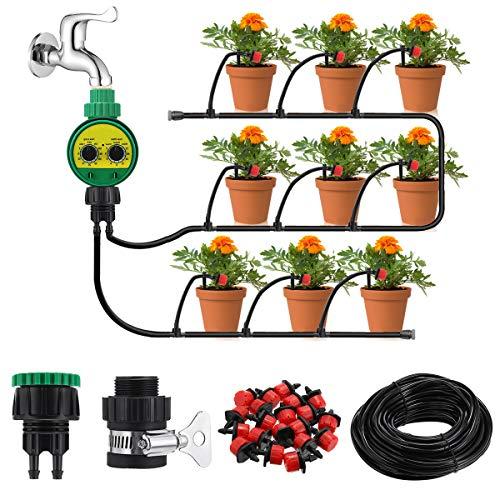 KING DO WAY Kit per Irrigazione a Goccia con Timer Automatico, Set di Irrigazione Automatica DIY Regolabile per Giardino Serra Impianto di Irrigazione Sistema (Set Tubo di 25 M)