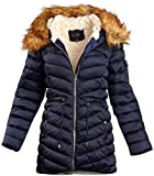 Jessica Simpson Women Satin Puffer Bubble Jacket with Full Fur Lining (Navy, Large)'