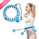 NGC-C Smart Hula Hoops for Adults Kids do not Fall,24 Knots, Abdomen Fitness Increase Beauty, 2 in 1 Fitness Weight Loss and Massage, Detachable(Blue)
