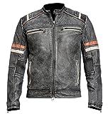 Mens Distressed Black Retro Vintage Cafe Racer Motorcycle Leather Jacket